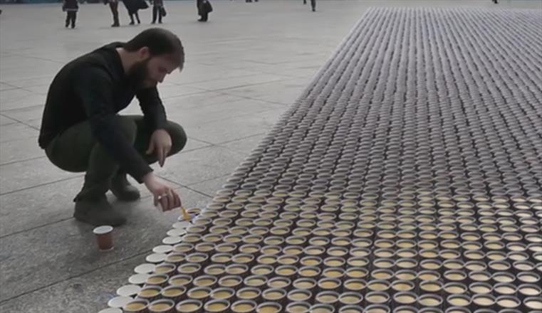 بزرگترین اجرای چیدمانی در میدان امام حسین
