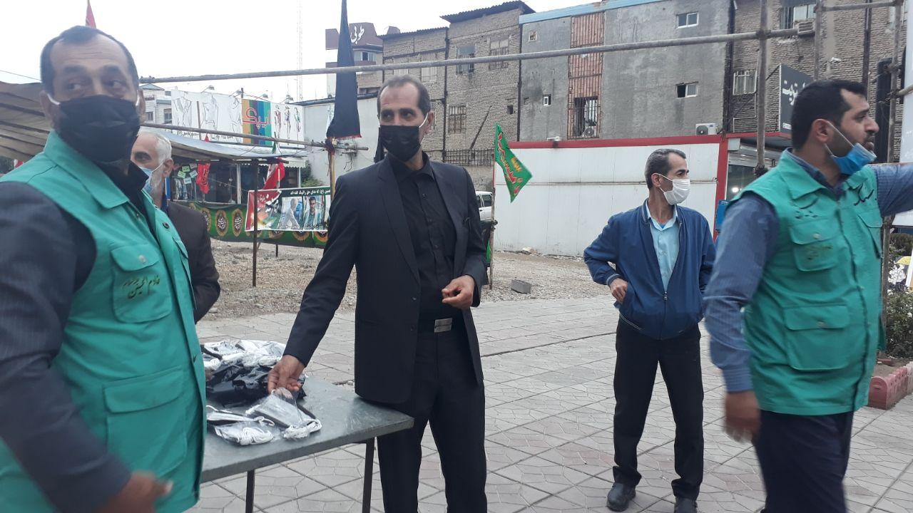 IMG 20201008 184051 297 - توزیع ۱۰ هزار ماسک بهداشتی به همت موکب انصارالحسین(ع) نکا در اربعین حسینی