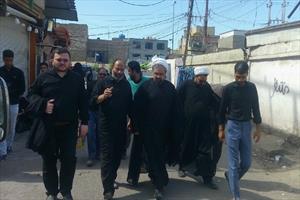 بازدید دکتر ارزانی رئیس ستاد فهما از مواکب عراقی و اهدای تندیش «الحسین یجمعنا» به آنها